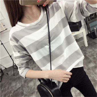 Tingdisha Women's Casual Striped Slit Long Sleeve T-Shirt (Gray)