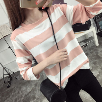 Tingdisha Women's Casual Striped Slit Long Sleeve T-Shirt (Leather pink)