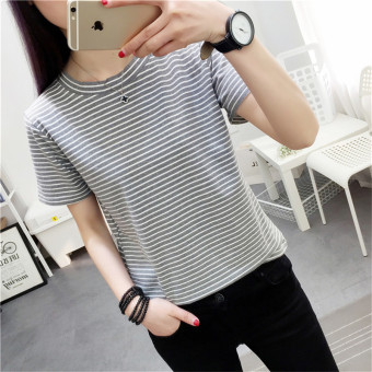 Tingdisha Women's Slim Fit Striped Short Sleeve T-Shirt - Grey - Navy Blue (Gray)