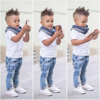 Toddler Kids Baby Boys Gentleman Tees Shirt+Denim Pants ClothesOutfits Set(White) - intl