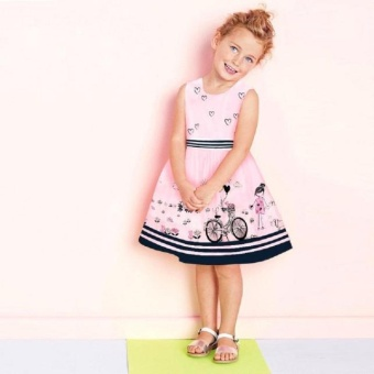Toddler Kids Baby Dress Girls Pink Sleeveless Party PrincessPageant Dresses - intl