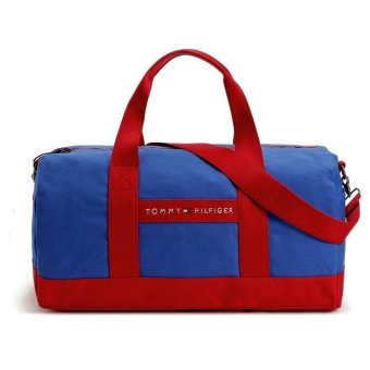 TOMMY HILFIGER CANVAS WEEKENDER BAG (BLUE/RED)