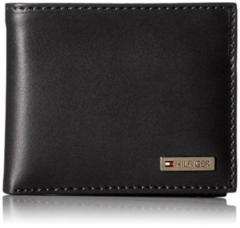 Tommy Hilfiger Leather Men's Multi-Card Passcase Bifold Wallet (gift box) Black