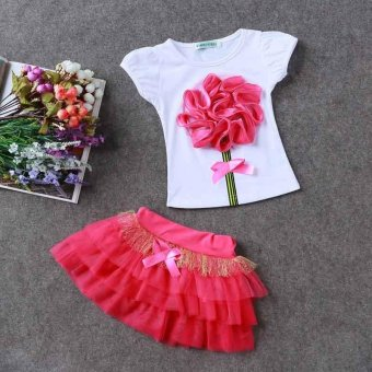 Top Shirt+Skirts Set Baby Girls Princess Kids Toddler Dress FlowerClothes (Red) - intl - 2