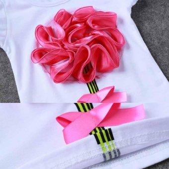 Top Shirt+Skirts Set Baby Girls Princess Kids Toddler Dress FlowerClothes (Red) - intl - 5