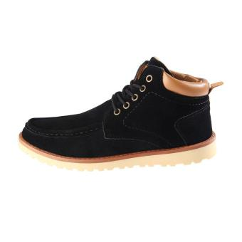 Top Winter Thickening Ankle Boots High Top Work Boots with Wave Shape Sole for Men