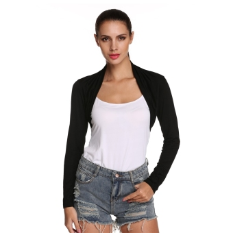 Toprank Meaneor Stylish Ladies Women Long Sleeve Solid Open FrontBolero Shrug Cropped Top ( white ) - intl