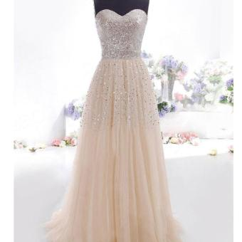 Toprank Women Sexy Strapless Sequins Cocktail Party Ball Gown Evening Long Dress ( Apricot )