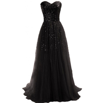 Toprank Women Sexy Strapless Sequins Cocktail Party Ball Gown Evening Long Dress ( Black )