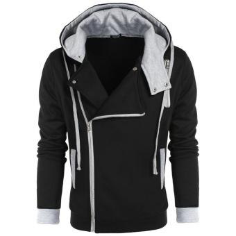 topsellers365 Stylish for COOFANDY Men Casual Zipper Hooded Slim Hoodie Coat  Black  - intl