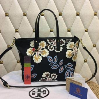 Tory Burch Floral Tote Bag in Black