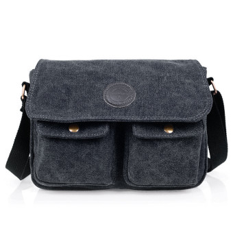 travel bag men's messenger bags canvas-black - Intl Price Philippines