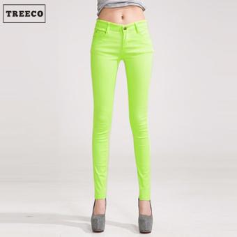 Treeco Women's Candy Skinny Jeans (Yellow Green)