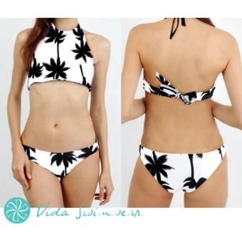 Tropical Bikini Palm Tree Halter High Neck Two Piece Swimsuit Women's Swimwear