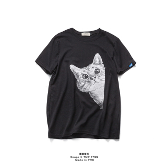 Tuan Korean-style men's printed round neck short sleeved cat T-shirt (Black)