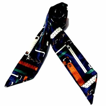 Twilly Silk Scarf And Wraps Bag Accessory Blackchain Print Design(Navy Blue)