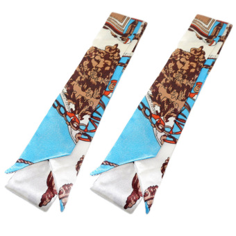 Twilly Silk Scarf And Wraps Bag Accessory Brownchain Print Design(Lightblue)