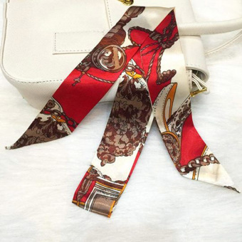 Twilly Silk Scarf And Wraps Bag Accessory Brownchain Print Design(Red)