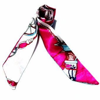 Twilly Silk Scarf And Wraps Bag Accessory Cycle Print Design (Pink)