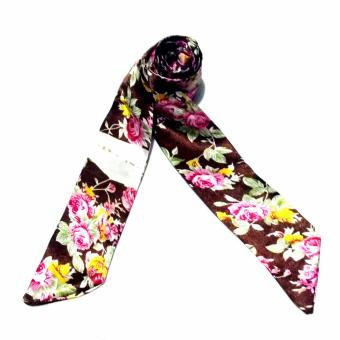 Twilly Silk Scarf And Wraps Bag Accessory Floral Print Design(Brown)