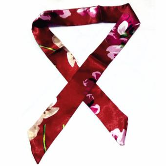 Twilly Silk Scarf And Wraps Bag Accessory Floral Print Design(Maroon)