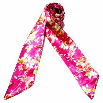 Twilly Silk Scarf And Wraps Bag Accessory Floral Print Design(Pink)