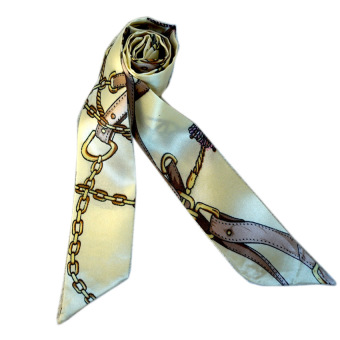 Twilly Silk Scarf And Wraps Bag Accessory Goldchain Print Design(Cream)