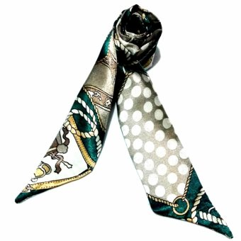 Twilly Silk Scarf And Wraps Bag Accessory Whitechain Print Design(Emerald)
