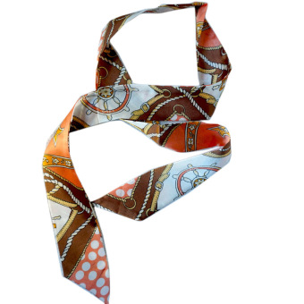 Twilly Silk Scarf And Wraps Bag Accessory Whitechain Print Design(Orange)