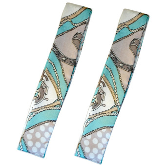 Twilly Silk Scarf And Wraps Bag Accessory Whitechain Print Design(Teal) - 3