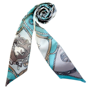 Twilly Silk Scarf And Wraps Bag Accessory Whitechain Print Design(Teal) - 2