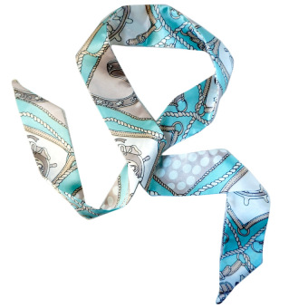 Twilly Silk Scarf And Wraps Bag Accessory Whitechain Print Design(Teal)