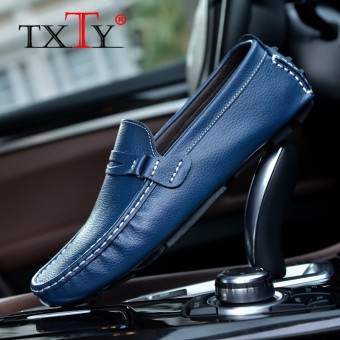 TXTY Leather Loafers For Men Shoes moccasins Spring Mens Footwear Cow Leather Flats Casual Comfortable Driving Shoesblue - intl