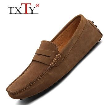 TXTY Men's Light Slip-On Flats Shoes Man Casual Boat Peas shoe Men's Male Shoe Size 38-49 9Colorkhaki - intl