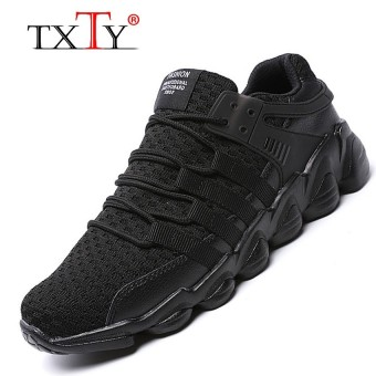 TXTY New Running Shoes Mens Sport Sneakers Quality Male Jogging Shoes Laces Athletic Sneakersblack - intl