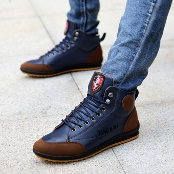 TXTY Sneakers Men Casual Shoes Leather Shoes Lace Up Mens Blue Fashion Sneakers Classic Man Footwearblue - intl