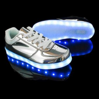 Ubuy LED Light Unisex Shoes Lace Up Luminous Shoes Sportswear Sneaker Couples Casual Running Shoes (silver) - intl