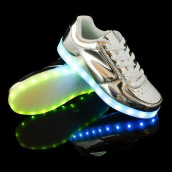 Ubuy LED Light Unisex Shoes Lace Up Luminous Shoes Sportswear Sneaker Couples Casual Running Shoes (silver) - intl - 2