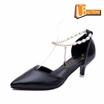Ubuy Women's Summer Office Casual Pearl Chains Fashion Pointed Low-heeled Shoes Pointed Toe Suede Leather Lady Shallow Mouth Sandals(Black) - intl