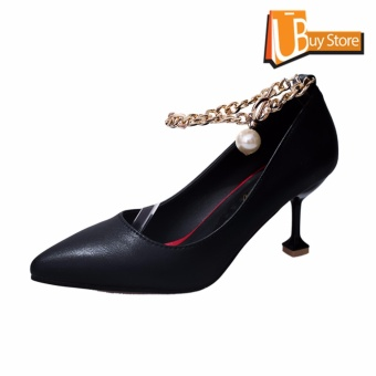 Ubuy Women's Summer Office Pearl Chains Fashion Pointed High-heeled Shoes Pointed Toe Suede Formal Leather Lady Shallow Mouth Sandals(Black) - intl