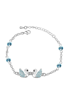 ufengke UF-JQB107-2 Round Crystal Swan Bracelet (Blue)
