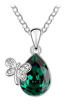 Ufengke UF-JQN108-5 Crystal Butterfly Necklace (Green)