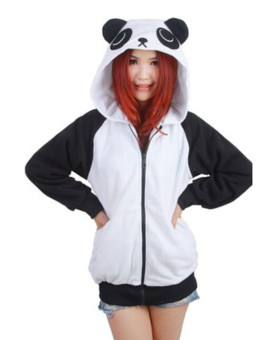 Ufosuit Animal Panda Hoodies Adult Hoody (Black/White)