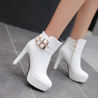 Ultra-high-heeled waterproof platform New style side zip women's shoes short boots (White)