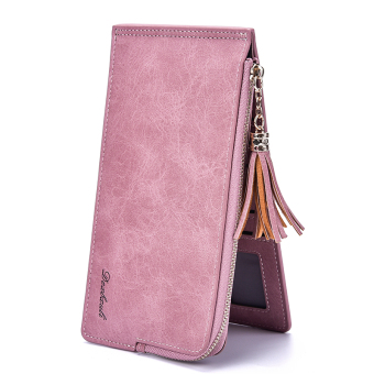 Ultra-thin zip multi-functional credit card clip card holder (Light pink)