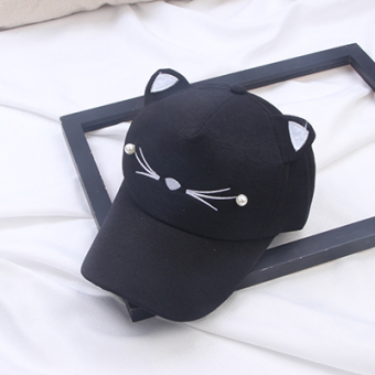 ULTRAGROW Korean-style female cat hat (Black) (Black)