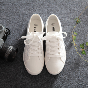 Ulzzang artistic female New style shoes white shoes (Men's + White (plain weave))