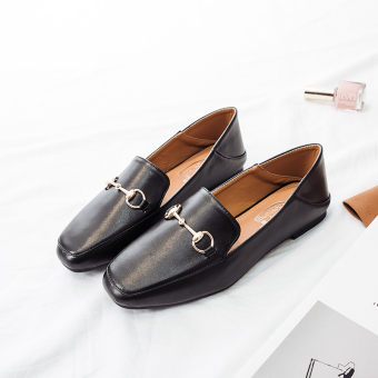 Ulzzang British style autumn New style flat shoes women's shoes (Black)