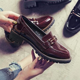 Ulzzang British style autumn New style soft small leather shoes women's shoes (Wine red color)