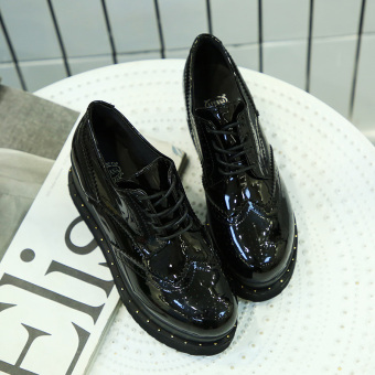 Ulzzang British style patent leather female autumn shoes retro small leather shoes